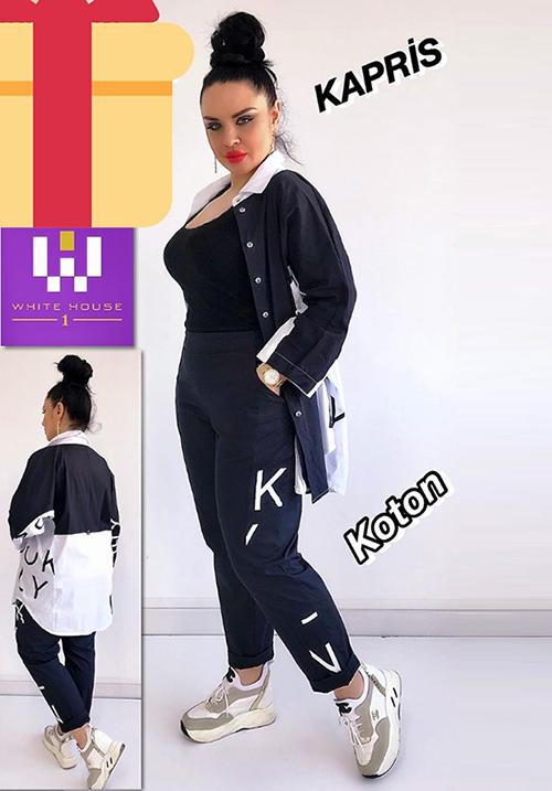 Костюм черно-белый (блуза+брюки) Kapris