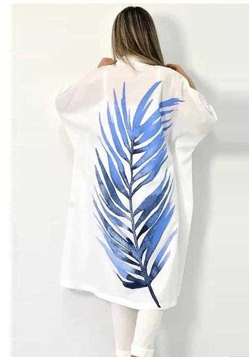 Комплект белый с ярким рисунком (рубашка+брюки) Bize Fashion