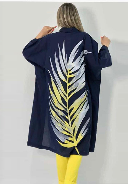 Комплект темный с ярким рисунком (рубашка+брюки) Bize Fashion
