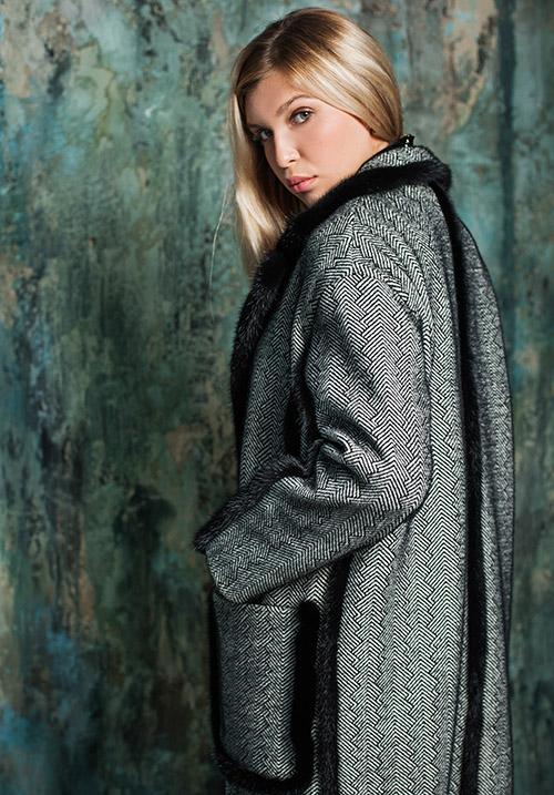 Пальто с кромкой из натуральной норки Marco Moretti A201-21