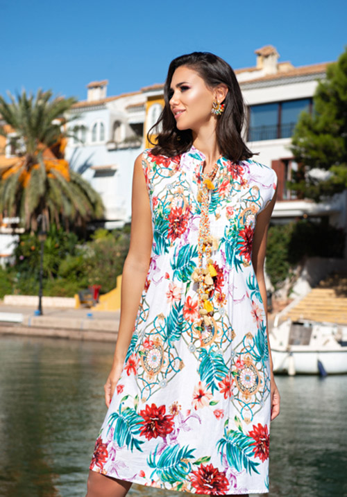 Платье с принтом Цветы Indiano